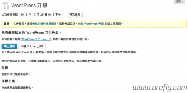 Wordpress 3.7更新頁面